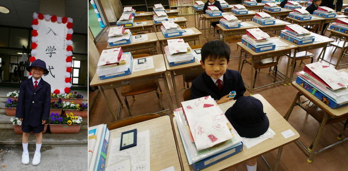 一年生 小学校一年生 勉強 : 教室で先生の説明を受けます