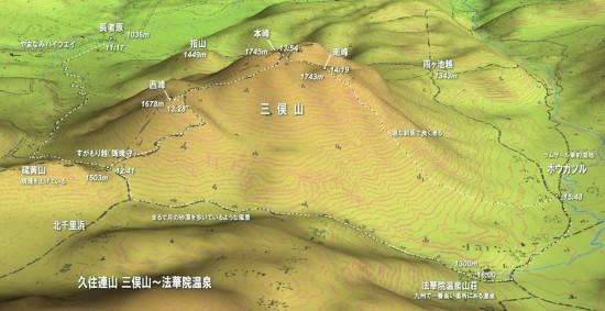 三俣山縦走地図