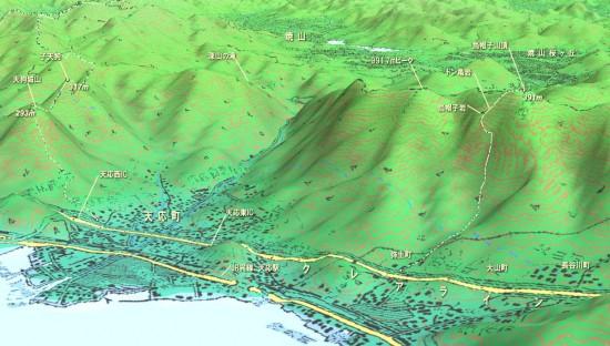 天応から烏帽子岩の縦走路までのMAP