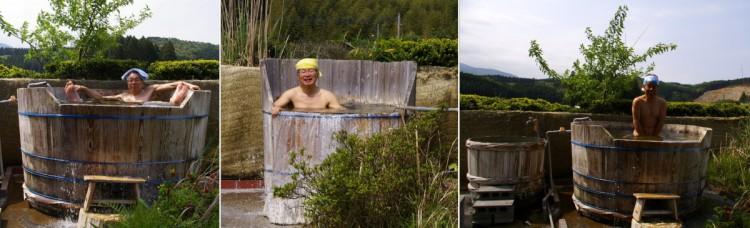 樽の露天風呂でご機嫌ですね