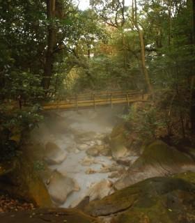 遊歩道に沿って湯の川が