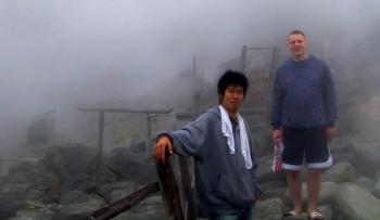 八幡地獄は噴煙と霧で何も見えません