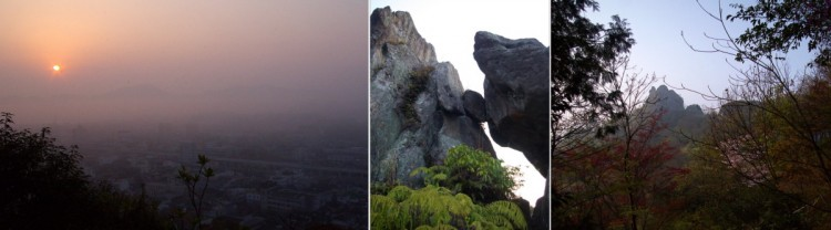 武雄温泉の夜明け 蓬莱山の岩山