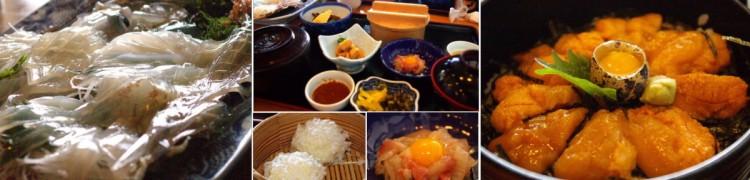 イカの生き造り イカ御前 イカシュウマイ ウニ丼の豪華な昼食