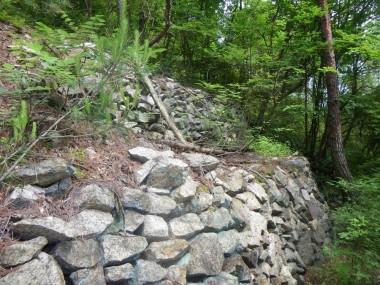 登り坂には石が積んであります