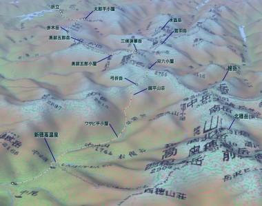 北アルプス縦走MAP