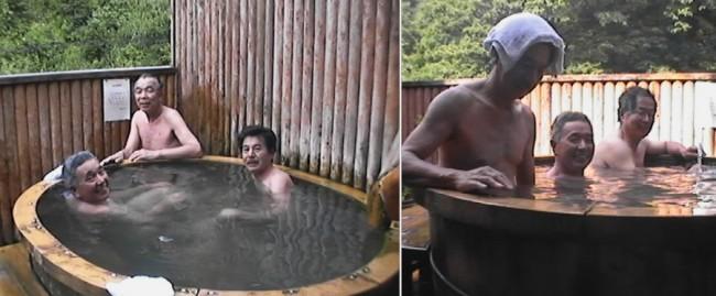 露天は大きな桶風呂