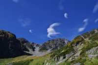 大喰岳の頂上に雲が流れていく