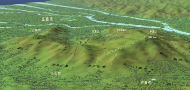 広島市内中心部の北側にある牛田山の山塊