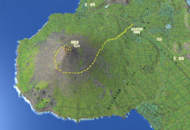 開聞岳の3D地図