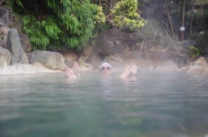 今日の宿泊、きらく温泉の露天風呂