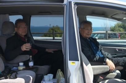 しまなみ海道のSAでコーヒーを煎れて、TAMはウイスキーなど