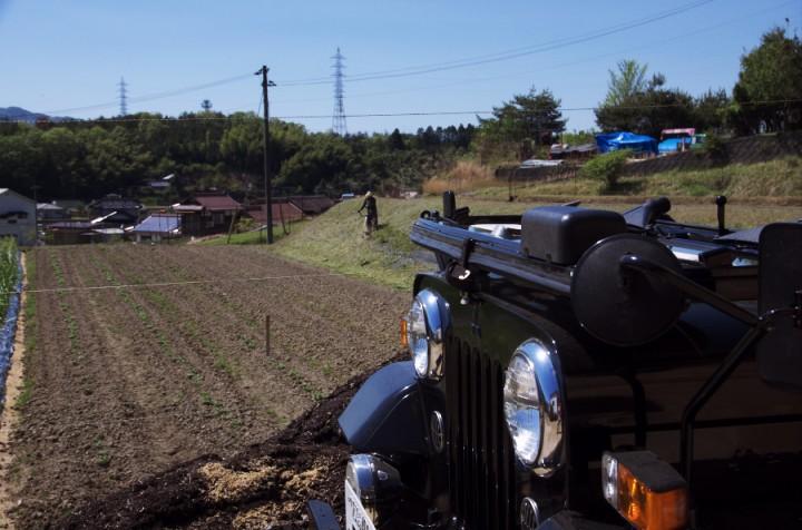 天気が良いのでジープをオープンで畑に出かけている