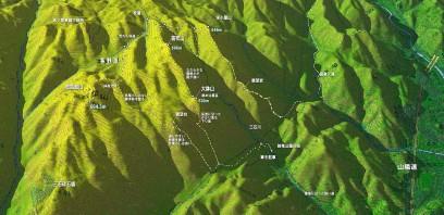 忠四郎山付近の3Dマップ