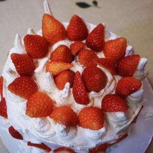 美味しい手製の苺ケーキ