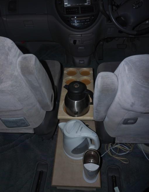 走行中にコーヒーを飲むためのコンソールを製作