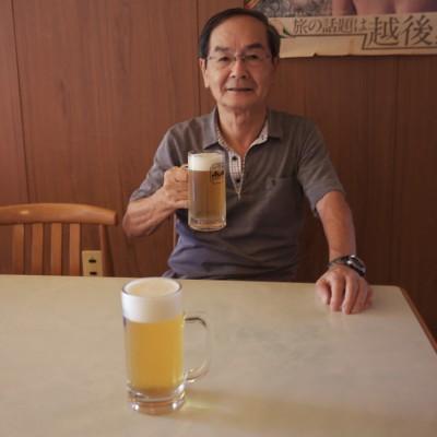 露天風呂巡りの後は生ビールが上手い