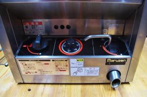 ガスの点火と温度調節の操作部