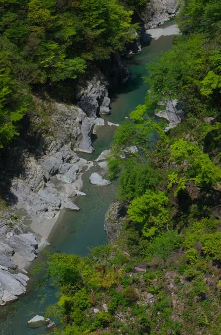 眼下には祖谷の渓流