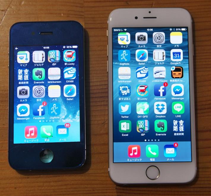 iPhone4とPhone6 6は少し大きいが軽い