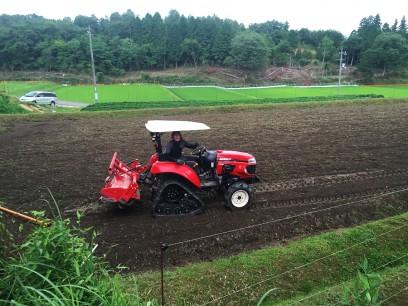 畑をトラクターで土づくり