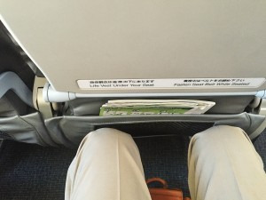 座席の間隔は狭い、膝が窮屈
