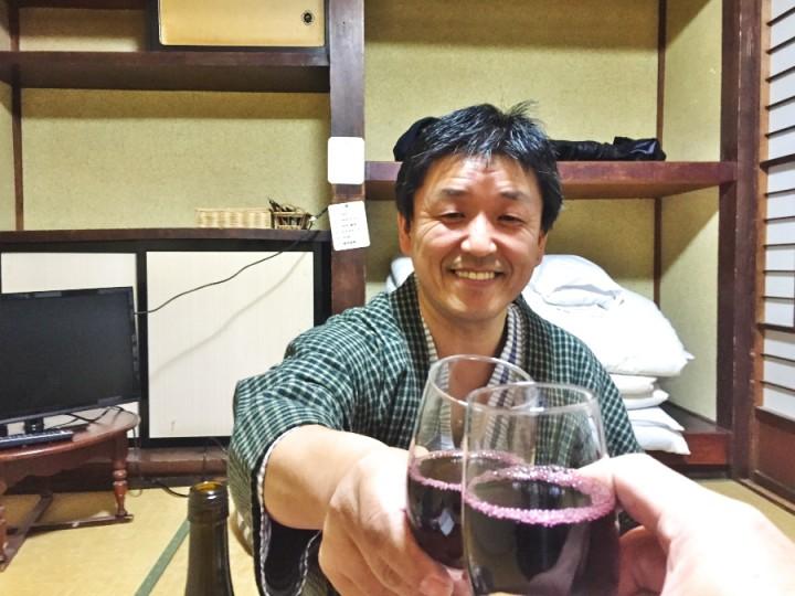 ビールの後はワインで乾杯