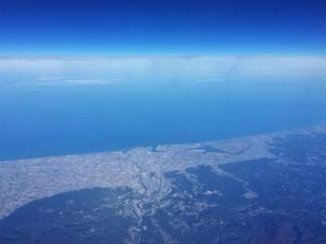 金沢の上空