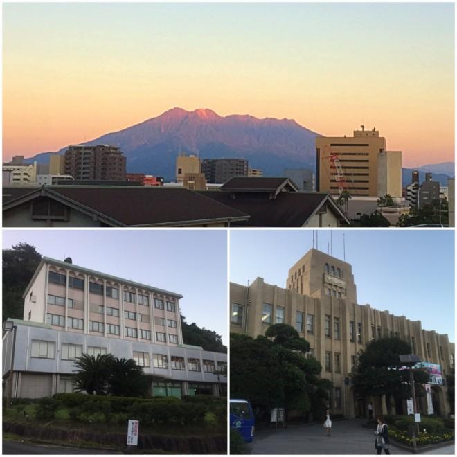 夕方にはホテルの窓から櫻島が見える