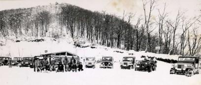 立烏帽子の駐車場でTRY-Xの雪中行軍