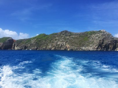 南島は波が高く上陸できなかった