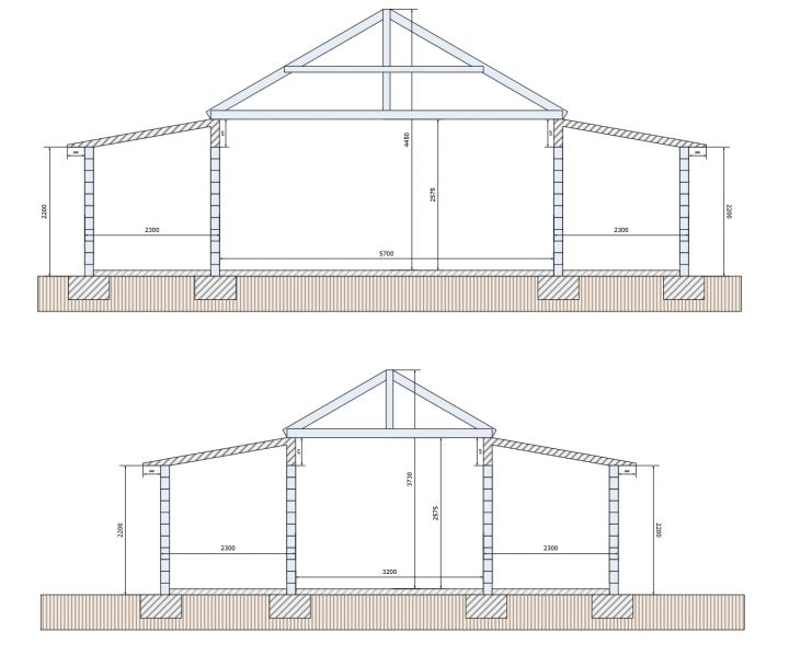 中央の屋根面はテント地で 構造はCB スラブはRC