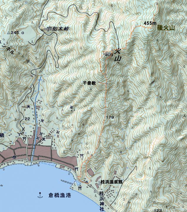 桂浜から火山、後火山へ 標高差は海岸からなのできっちり455m