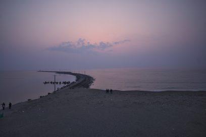 三国の海岸の夕焼け